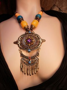 Rhinestone+Statement+Gypsy+Necklace+HUGE+by+vintagesparkles,+$175.00