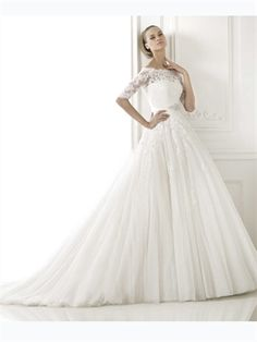 2015 White Ball Gown Beads Sashes Zipper Lace Tulle Wedding Dresses Bridal Gowns AWD420416
