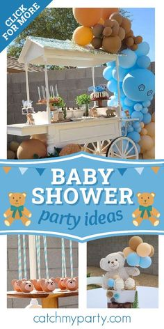 Take a look at this cute teddy bear themed baby shower! The teddy cake pops are adorable! See more party ideas and share yours at CatchMyParty.com #catchmyparty #partyideas #teddybear #teddybearparty #babyshower #boybabyshower