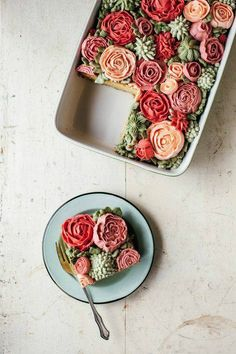 A succulent cake as a piece of art. It's such a pity to eat it