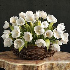 models: Bouquet - spring tulips in the nest Beautiful Flower Arrangements, Floral Arrangements, Beautiful Flowers, White Tulips, White Flowers, Banana Plants, Green Hydrangea, Different Plants, Flower Decorations