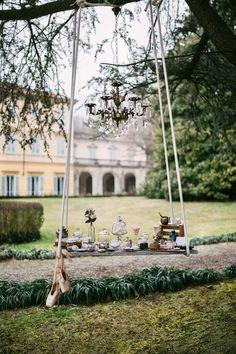 bohemian sweet table on a swing