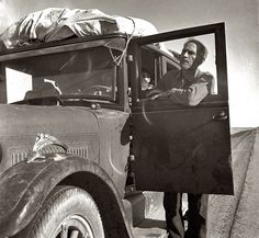 """March 1937. Stalled in the Southern California desert. """"No money, ten children. From Chickasaw, Oklahoma.""""  by Dorothea Lange"""