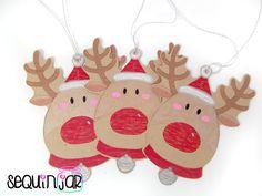 3 handmade cute christmas reindeer present decorating kraft card gift tags uk