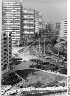 Berlin, Leipziger Strasse. This is how the East German government wanted all cities to look like: Modernistic, if not futuristic, constructed according to the newest results research, a symbol for their state: Socialism was modern and - according the economical theories of Marx - the system of the future.