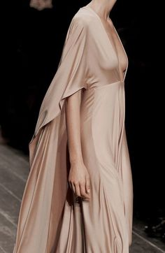 pink silk draping gown