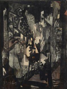 George Campbell (Irish, 1917-1979), Dark street. Ink and coloured inks, 23 x 17.8 cm. blastedheath