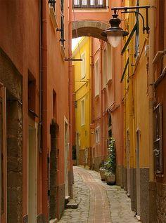 Lovely side streets in Manarola, Liguria, Italy