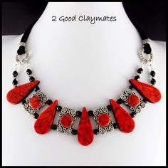 2 Good Claymates: Faux Red Turquoise Collar Necklace