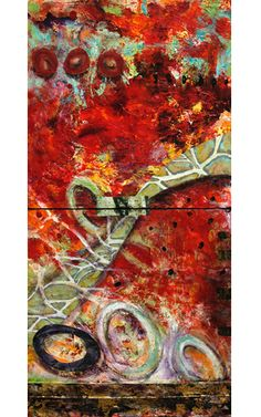 """Where ART Lives Gallery Artists Group Blog: Mixed Media Abstract Vertical Painting """"FOLLOW THE..."""