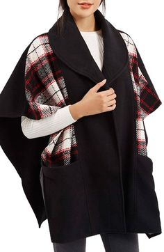 Topshop Mixed Check Cape available at #Nordstrom