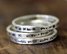 Sterling Silver Name Stacking Rings – Set Of 3 by Monkeys Always Look