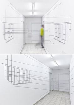 Real-Life 3D Wireframe: Interior Art Draws on Digital Design | Designs & Ideas on Dornob