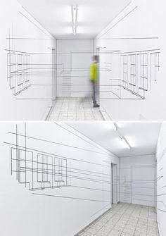 Real-Life 3D Wireframe: Interior Art Draws on Digital Design   Designs & Ideas on Dornob