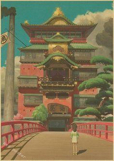 Vintage Retro Hayao Miyazaki Totoro, Spirited Away, Princess Mononoke Posters