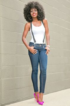 Style Pantry | Fitted Tank + Suspenders + Ankle Jeans