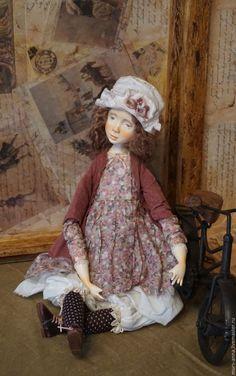 Купить Берта. Коллекционная авторская кукла. - бордовый, кукла ручной работы, единственный экземпляр