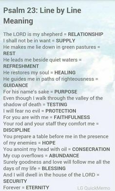 Psalm 23 from the Bible's Book of Psalms and a line-by-line meaning of the verses. Prayer Scriptures, Bible Prayers, Faith Prayer, Bible Verses, Scriptures On Healing, Psalm 23 Bible Verse, Psalm 91 Prayer, Salvation Scriptures, Worship Scripture