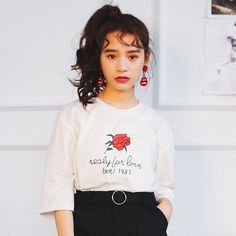 Kawaii loose Coton Mignon Tops 2017 Summer Casual school Harajuku korea Style Femmes short sleeve O neck roses print  t shirts-in T-Shirts from Women's Clothing & Accessories on Aliexpress.com | Alibaba Group