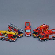The LEGO City fire trucks
