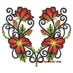 FLORAL RUSTY SCULPTURE - 2 EMBROIDERED HAND TOWELS by Susan