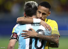 Neymar (R) of Brazil greets Lionel Messi of Argentina during a match between Brazil and Argentina as part of 2018 FIFA World Cup Russia Qualifier at Mineirao stadium on November 10, 2016 in Belo Horizonte, Brazil.