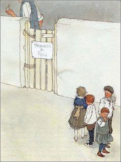 El gigante egoista. Ilustración de Lisbeth Zwerger.