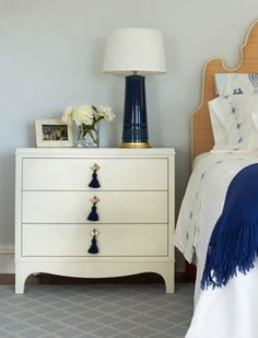 Easton Bedside Table with Tassels DIY: add brass knobs with colored tassels. Furniture, Three Drawer Chest, Bedroom Images, Table, Home Decor, Bedroom Furniture, Nightstand, Guest Bedroom Colors, Interior Design