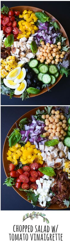Chopped Salad with Spicy Tomato Vinaigrette - So nutritious and almost too pretty to eat!