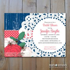 Bridal Shower Invitation /Shabby Chic Vintage Navy and Coral Floral with Doily / Printable DIY Digital Invitation, Item 42119