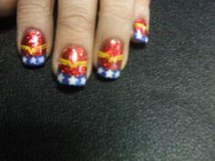 Wonder Woman Nails by ~sharpnailart on deviantART Crazy Nails, Funky Nails, Fingernail Designs, Nail Art Designs, Beauty Nails, Beauty Skin, Wonder Woman Nails, Super Hero Costumes, Red Glitter