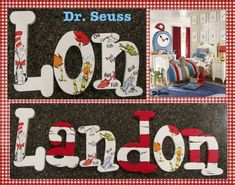 the boys room...dr suess one fish two fish. want these! in the right names of course...