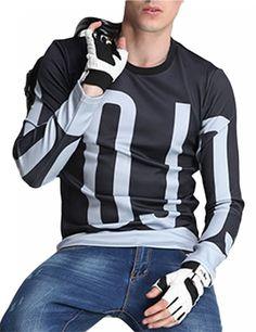 Men's Fashion Slim Scoop Neck Letter Print Long Sleeve T-shirt Black XL equal to American M - Yesfashion.com in Free Shipping