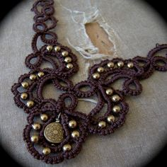 Tatted Lace Necklace Trailing Scrolls Chocolate by TotusMel