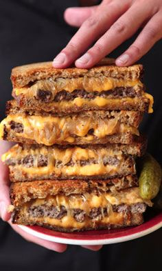 Some say that the patty melt — a griddled sandwich of ground beef, caramelized onions, cheese, and rye bread — isn't technically a burger, because it has no bun. We love it just the same.