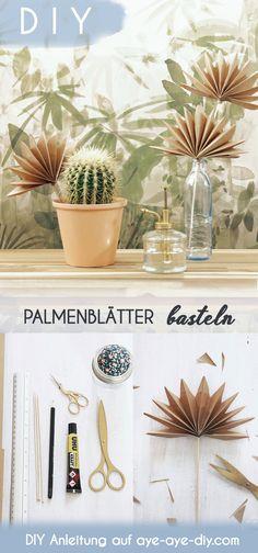 Bist du auch ein Fan der Palmspeer Trockenblumen und kannst gar nicht genu von ihnen haben? Dann zeige ich dir eine Anleitung zum Palmenblätter basteln aus Papier, die du als Vorlage nutzen kannst, um dir Deko Palmenblätter ganz leicht selber zu machen! Sie passen super schön zu Boho Deko im Wohnzimmer oder Urban Jungle Feeling zuhause :) Die ausführliche Bastelanleitung inkl. Youtube Video findest du auf aye-aye-diy.com ! Boho Wohnen I Boho DIY Deko I Palmenblätter Vorlage I Palme basteln Diy And Crafts, New Homes, Table Decorations, Boho, Plants, Home Decor, Paper Mill, Home, Diy Decorating
