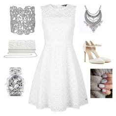 """""""White and silver"""" by amna15 ❤ liked on Polyvore featuring Tommy Hilfiger, Gianvito Rossi, M&Co and Victoria's Secret"""