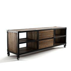 Il porta TV Atelier K 12 è completamente realizzato in legno massello di teak FSC 100% Recycled le rifiniture sono in ferro.