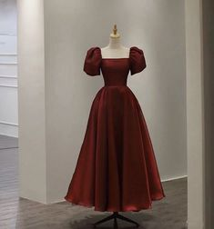 Evening Dresses With Sleeves, Ball Dresses, Satin Dresses, Gowns, Short Evening Dresses, Short Dresses, Dark Red Dresses, Red Satin Dress Short, Red Satin Top