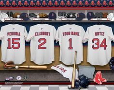Boston Red Sox MLB Baseball - Personalized Locker Room Print / Picture. Have you or someone you know ever dreamed about playing next to your favorite Boston Red Sox players. You or someone you know can be right there in the locker room with Boston Red Sox players! Optional framing with mat is available. Perfect for gifts, rec room, man cave, office, child's room, etc.  (http://www.oakhousesportsprints.com/boston-red-sox-locker-room-print/)