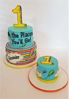 Dr Seuss Oh the Places You'll Go cake and smash cake First Birthdays Smash Cake First Birthday, Boys First Birthday Party Ideas, Dr Seuss Birthday Party, One Year Birthday, Birthday Themes For Boys, 1st Boy Birthday, Boy Birthday Parties, Dr Seuss Party Ideas, Dr Seuss Cake
