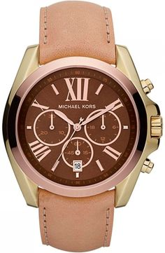 Michael Kors Women's MK5630 Bradshaw Beige and Brown Stainless Steel Watch : Disclosure: Affiliate link $147.95