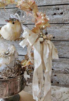 Spring Nest Easter Bird Nest Decor Easter Egg Decor Shabby | Etsy Wedding Shower Decorations, Easter Table Decorations, Easter Decor, Table Centerpieces, Shabby Chic Decor, Rustic Decor, Vintage Easter, Nest, Assemblage Art