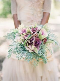 cabbage roes, dusty miller, purple bouquet wedding