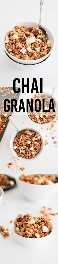 Delicious Chai Spiced Vegan Granola with Vegan White Chocolate Chunks. #vegan #chai #granola #breakfast #cereal #simple