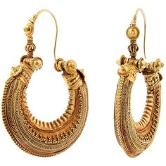 Pre-owned Gold earrings, OGANIA, India, Gujarath, early 20th Century ($11,626) ❤ liked on Polyvore featuring jewelry, earrings, hoop earrings, colorful hoop earrings, multi color earrings, bridal jewelry, tribal earrings and gold jewelry