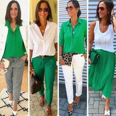 Green and White 60 Fashion, Work Fashion, Fashion Outfits, Womens Fashion, Mode Chic, Mode Style, Mode Outfits, Stylish Outfits, Green Pants Outfit