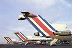 Las caracteristicas colas de los aviones de LACSA, antigua linea aerea costarricense absorbida por Grupo TACA y luego por Avianca.