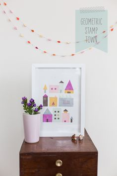 DIY Geometric Stamp Town. This would be a fun project to do with kids!