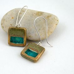 Ceramic Earrings with Recycled  Glass - Tiny Squares in Fossil. $28.00, via Etsy.